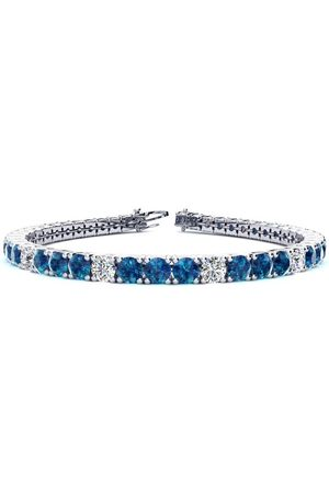 SuperJeweler 6.5 Inch 8 1/2 Carat Blue & White Diamond Alternating Tennis Bracelet in 14K (10.3 g)