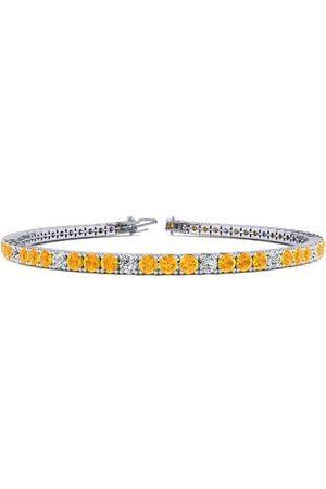 SuperJeweler Women Bracelets - 9 Inch 4 Carat Citrine & Diamond Alternating Tennis Bracelet in 14K (12 g)