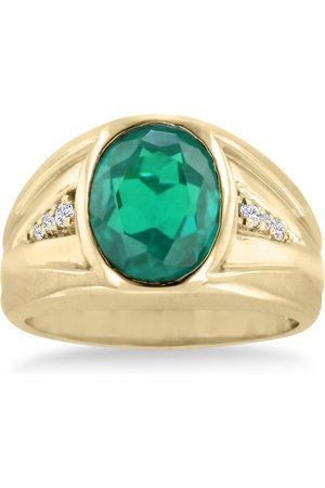 SuperJeweler 4 1/2 Carat Oval Created Emerald Cut & Diamond Men's Ring Crafted in Solid 14K
