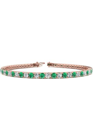 SuperJeweler 9 Inch 5 1/2 Carat Emerald Cut & Diamond Tennis Bracelet in 14K (12.1 g)