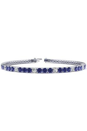 SuperJeweler 7 Inch 5 Carat Tanzanite & Diamond Alternating Tennis Bracelet in 14K (9.4 g)
