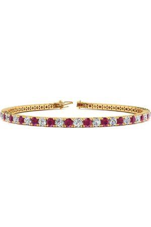 SuperJeweler 9 Inch 6 Carat Ruby & Diamond Tennis Bracelet in 14K (12.1 g)