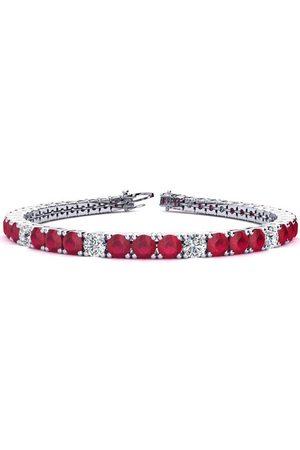 SuperJeweler 7.5 Inch 12 1/3 Carat Ruby & Diamond Alternating Tennis Bracelet in 14K (12.9 g)