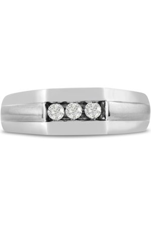 SuperJeweler Men's 1/4 Carat 3 Diamond Wedding Band in
