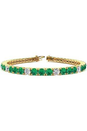 SuperJeweler 8.5 Inch 13 1/3 Carat Emerald Cut & Diamond Alternating Tennis Bracelet in 14K (14.6 g)