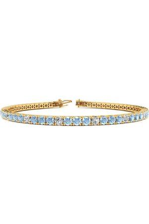 SuperJeweler 8 Inch 3 Carat Aquamarine & Diamond Alternating Tennis Bracelet in 14K (10.6 g)