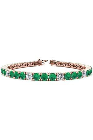 SuperJeweler 6.5 Inch 10 1/4 Carat Emerald Cut & Diamond Alternating Tennis Bracelet in 14K (11.1 g)