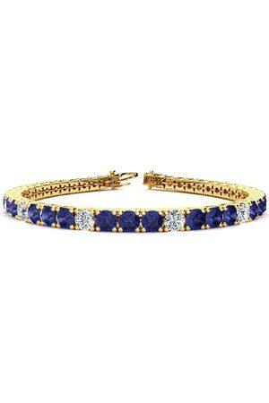 SuperJeweler 9 Inch 11 1/3 Carat Tanzanite & Diamond Alternating Tennis Bracelet in 14K (15.4 g)