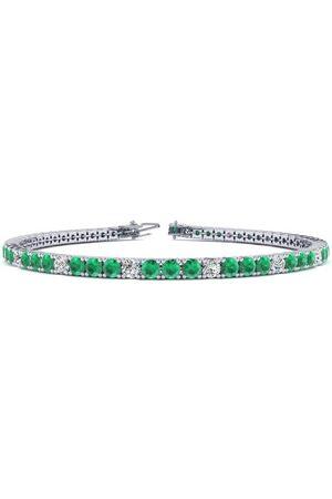 SuperJeweler 6 Inch 3 Carat Emerald Cut & Diamond Alternating Tennis Bracelet in 14K (8 g)