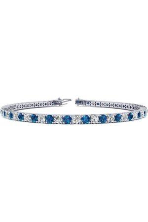 SuperJeweler 8.5 Inch 4 3/4 Carat Blue & White Diamond Tennis Bracelet in 14K (11.4 g)