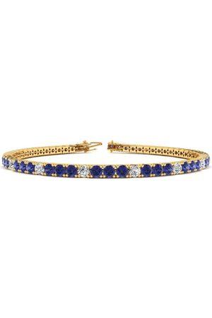 SuperJeweler 8 Inch 2.5 Carat Tanzanite & Diamond Alternating Tennis Bracelet in 14K (10.6 g)