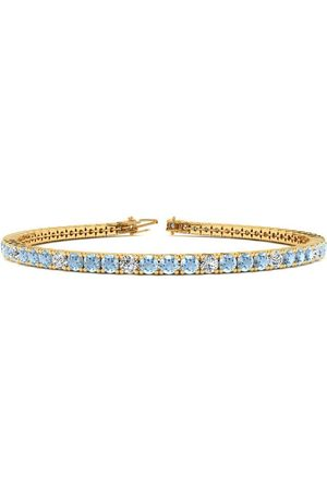 SuperJeweler 7 Inch 2 2/3 Carat Aquamarine & Diamond Alternating Tennis Bracelet in 14K (9.3 g)