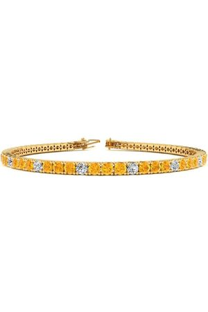 SuperJeweler 9 Inch 4 Carat Citrine & Diamond Alternating Tennis Bracelet in 14K (12 g)