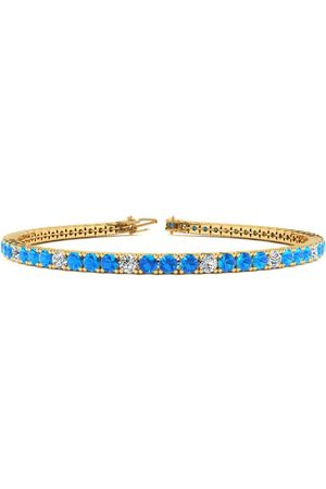 SuperJeweler 6.5 Inch 3 1/2 Carat Blue Topaz & Diamond Alternating Tennis Bracelet in 14K (8.6 g)