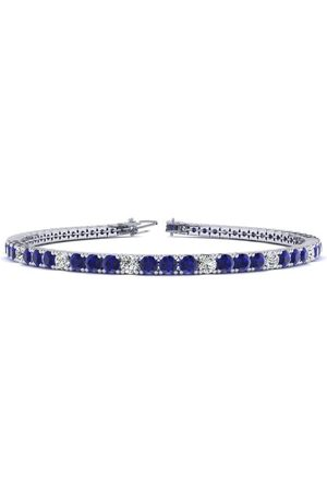 SuperJeweler 7 Inch 3 3/4 Carat Sapphire & Diamond Alternating Tennis Bracelet in 14K (9.3 g)