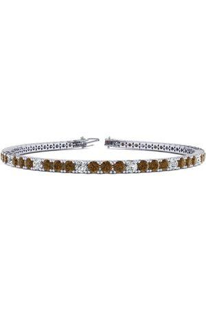 SuperJeweler 8 Inch 3 Carat Chocolate Bar Brown Champagne & White Diamond Tennis Bracelet in 14K (10.6 g)