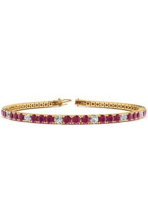SuperJeweler 7.5 Inch 4 1/2 Carat Ruby & Diamond Alternating Tennis Bracelet in 14K (10 g)