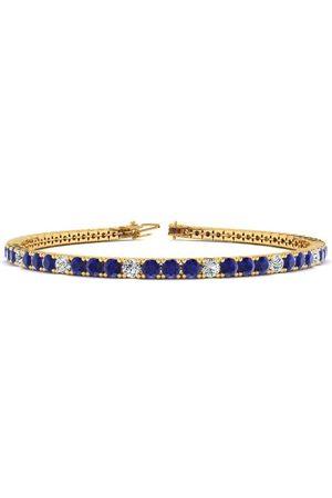 SuperJeweler 7.5 Inch 4 Carat Sapphire & Diamond Alternating Tennis Bracelet in 14K (10 g)