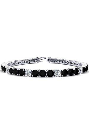 SuperJeweler Women Bracelets - 8 Inch 10 1/2 Carat Black & White Diamond Alternating Tennis Bracelet in 14K (13.7 g)