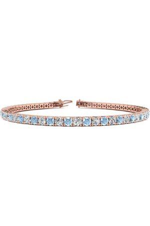 SuperJeweler 8 Inch 4 1/2 Carat Aquamarine & Diamond Tennis Bracelet in 14K (10.7 g)