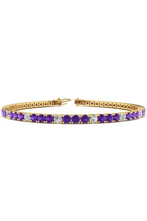 SuperJeweler 8 Inch 3 1/2 Carat Amethyst & Diamond Alternating Tennis Bracelet in 14K (10.6 g)