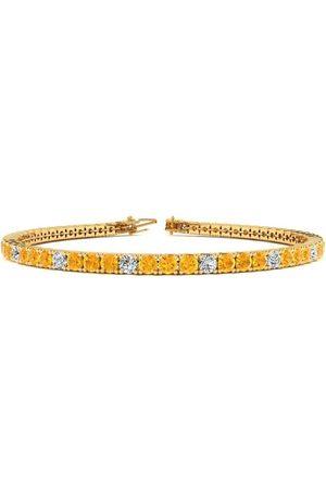 SuperJeweler 8 Inch 3 1/2 Carat Citrine & Diamond Alternating Tennis Bracelet in 14K (10.6 g)