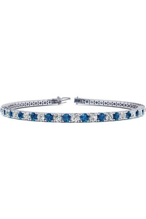 SuperJeweler 6 Inch 3 1/2 Carat Blue & White Diamond Tennis Bracelet in 14K (8.1 g)