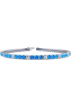 SuperJeweler Women Bracelets - 8 Inch 4 1/4 Carat Blue Topaz & Diamond Alternating Tennis Bracelet in 14K (10.6 g)