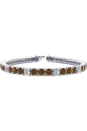 SuperJeweler 7 Inch 9 1/2 Carat Chocolate Bar Brown Champagne & White Diamond Alternating Tennis Bracelet in 14K (12 g)