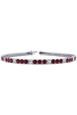 SuperJeweler 7 Inch 4 1/3 Carat Garnet & Diamond Alternating Tennis Bracelet in 14K (9.4 g)