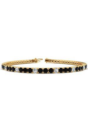 SuperJeweler Women Bracelets - 9 Inch 5 Carat Black & White Diamond Alternating Tennis Bracelet in 14K (12.1 g)