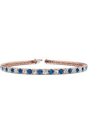SuperJeweler 6.5 Inch 3 1/2 Carat Blue & White Diamond Tennis Bracelet in 14K (8.7 g)
