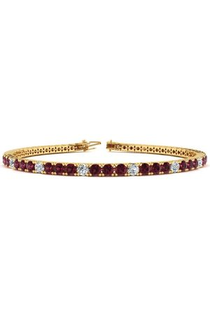 SuperJeweler 8.5 Inch 3 3/4 Carat Garnet & Diamond Alternating Tennis Bracelet in 14K (11.3 g)