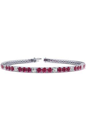 SuperJeweler 6.5 Inch 4 Carat Ruby & Diamond Alternating Tennis Bracelet in 14K (8.6 g)