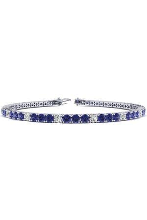 SuperJeweler 8.5 Inch 2.5 Carat Tanzanite & Diamond Alternating Tennis Bracelet in 14K (11.3 g)