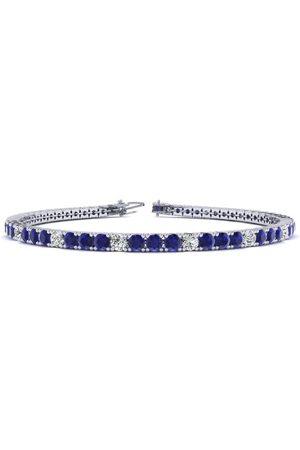 SuperJeweler 6 Inch 3 Carat Sapphire & Diamond Alternating Tennis Bracelet in 14K (8 g)