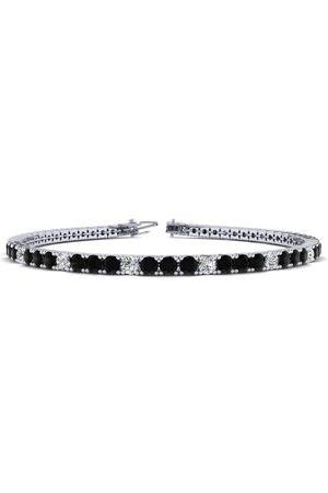 SuperJeweler Women Bracelets - 7 Inch 2 2/3 Carat Black & White Diamond Tennis Bracelet in 14K (9.3 g)