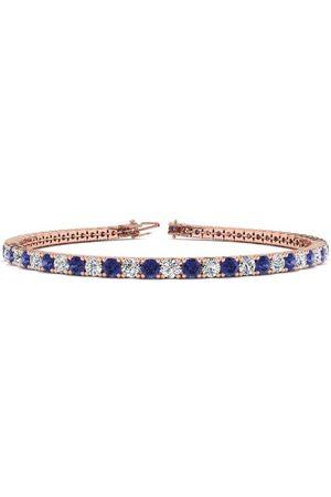 SuperJeweler 8 Inch 5 Carat Tanzanite & Diamond Tennis Bracelet in 14K (10.7 g)