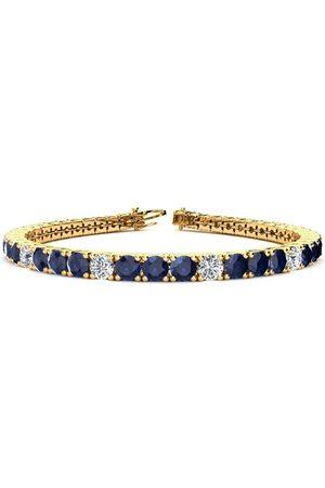 SuperJeweler 8.5 Inch 14 1/2 Carat Sapphire & Diamond Alternating Tennis Bracelet in 14K (14.6 g)