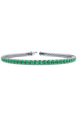 SuperJeweler 9 Inch 5 Carat Emerald Tennis Bracelet in 14K (12 g) by
