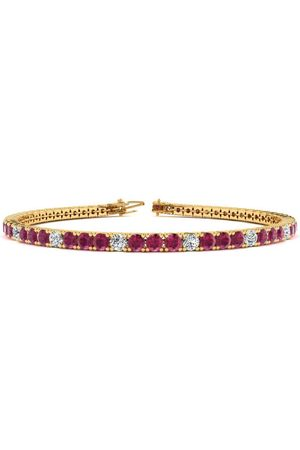 SuperJeweler 8 Inch 4 3/4 Carat Ruby & Diamond Alternating Tennis Bracelet in 14K (10.6 g)