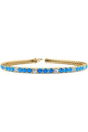 SuperJeweler 7.5 Inch 5 1/4 Carat Blue Topaz & Diamond Alternating Tennis Bracelet in 14K (10.1 g)