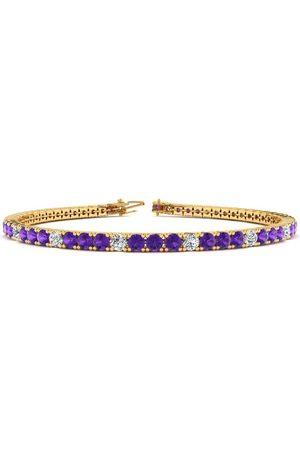 SuperJeweler 8.5 Inch 3 3/4 Carat Amethyst & Diamond Alternating Tennis Bracelet in 14K (11.3 g)