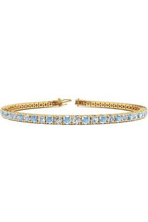 SuperJeweler 7.5 Inch 4 1/4 Carat Aquamarine & Diamond Tennis Bracelet in 14K (10.1 g)
