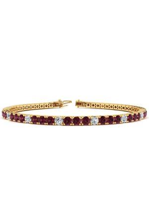 SuperJeweler 6.5 Inch 3 Carat Garnet & Diamond Alternating Tennis Bracelet in 14K (8.6 g)