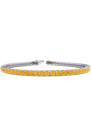 SuperJeweler Women Bracelets - 8 Inch 3 3/4 Carat Citrine Tennis Bracelet in 14K (10.6 g) by