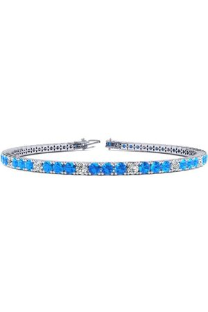 SuperJeweler 7 Inch 3 3/4 Carat Blue Topaz & Diamond Alternating Tennis Bracelet in 14K (9.3 g)