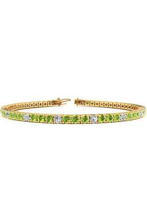 SuperJeweler Women Bracelets - 6.5 Inch 3 Carat Peridot & Diamond Alternating Tennis Bracelet in 14K (8.6 g)