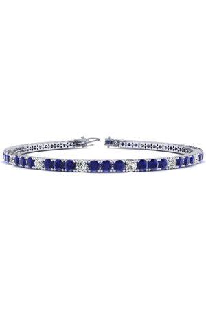SuperJeweler Women Bracelets - 9 Inch 6 1/3 Carat Sapphire & Diamond Alternating Tennis Bracelet in 14K (12.1 g)
