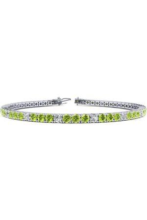 SuperJeweler 6.5 Inch 3 Carat Peridot & Diamond Alternating Tennis Bracelet in 14K (8.6 g)
